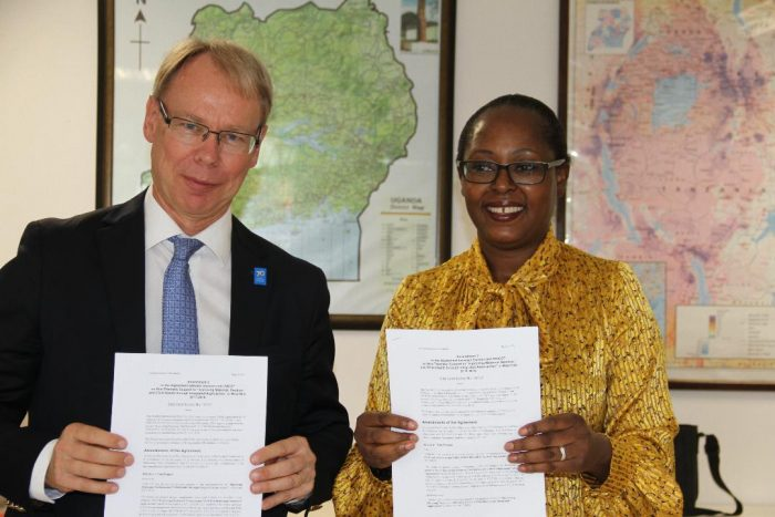 H.E. Per Lindgärde, Ambassador of Sweden and UNICEF's Representative in Uganda, Dr. Doreen Mulenga.