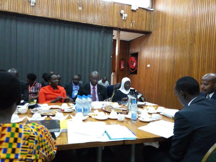 Ms Janat Mukwaya Responding to MPs  on Gender committee of Parliament .