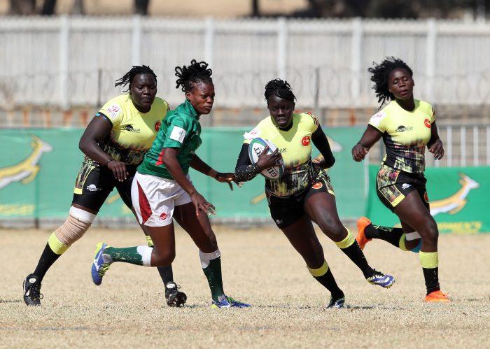 Claire Anena of Uganda challenged by Naomi Amuguni of Kenya during 2019 Rugby Africa Women's Cup between Kenya and Uganda at the Bosman Stadium, Brakpan, on 13 August 2019 ©APO Group