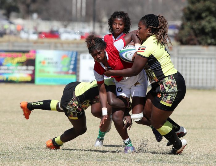 Monica Rasoloniaina of Madagascar challenged by Irene AIrene of Uganda during 2019 Rugby Africa Women's Cup match between Madagascar and Uganda at the Bosman Stadium, Brakpan, on 17 August 2019 ©APO Group
