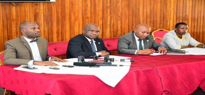 Members of the new committee at a press conference on their plans 2019.