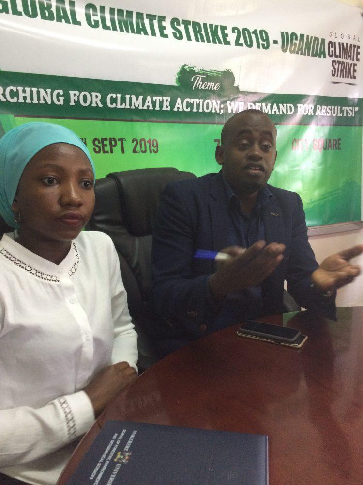 The CEO Youth Go Green Uganda, Edwin Muhumuza  Addressing Media