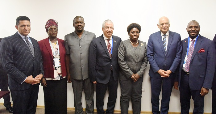 Third from right Speaker Rebecca Kadaga, second from right Egypt Speaker Ali abdel-Aal pose for a photo with MPs, and Ambassadors of Uganda and Egypt to Serbia